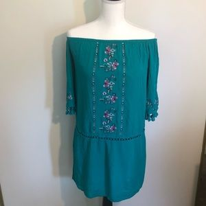 Boho turquoise tunic off the shoulder floral